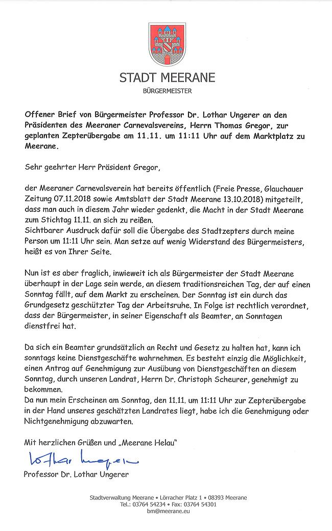 Offener Brief Von Bürgermeister Professor Dr Lothar Ungerer An Den